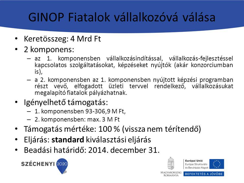 GINOP Fiatalok vállalkozóvá válása Keretösszeg: 4 Mrd Ft 2 komponens: – az 1. komponensben vállalkozásindítással, vállalkozás-fejlesztéssel kapcsolato