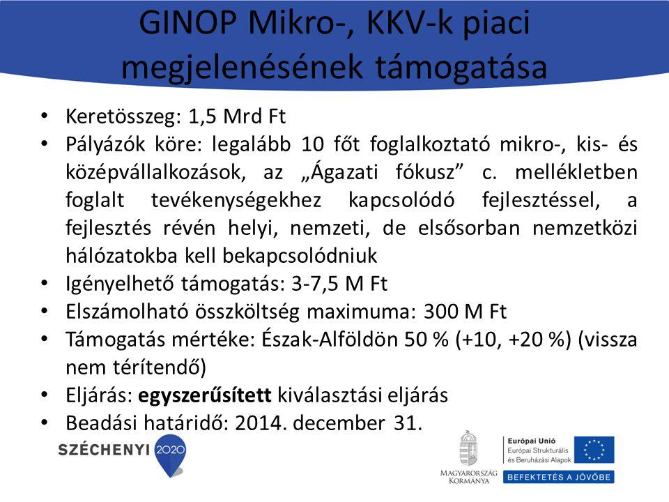 GINOP Mikro-, KKV-k piaci megjelenésének támogatása Keretösszeg: 1,5 Mrd Ft Pályázók köre: legalább 10 főt foglalkoztató mikro-, kis- és középvállalko