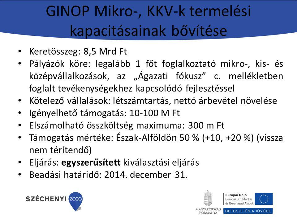 GINOP Mikro-, KKV-k termelési kapacitásainak bővítése Keretösszeg: 8,5 Mrd Ft Pályázók köre: legalább 1 főt foglalkoztató mikro-, kis- és középvállalk