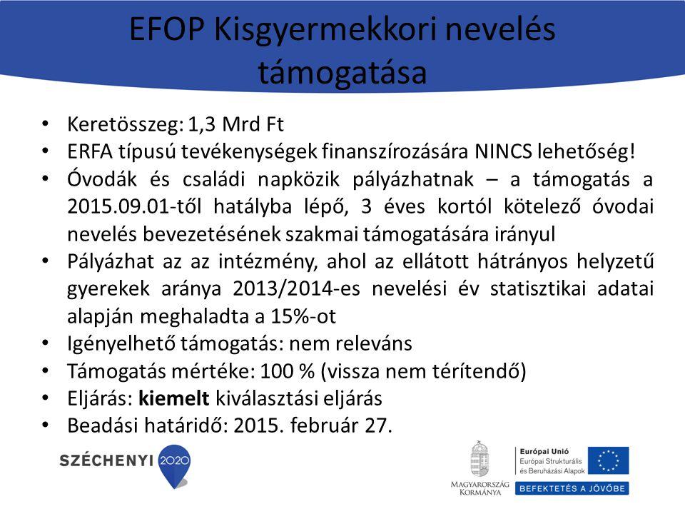 EFOP Kisgyermekkori nevelés támogatása Keretösszeg: 1,3 Mrd Ft ERFA típusú tevékenységek finanszírozására NINCS lehetőség! Óvodák és családi napközik