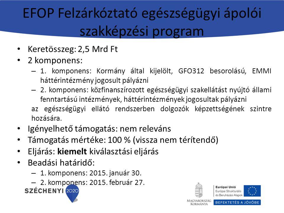 EFOP Felzárkóztató egészségügyi ápolói szakképzési program Keretösszeg: 2,5 Mrd Ft 2 komponens: – 1. komponens: Kormány által kijelölt, GFO312 besorol