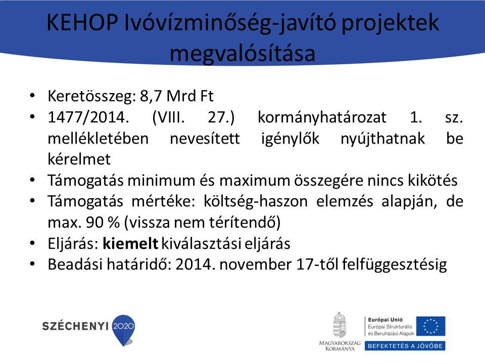 KEHOP Ivóvízminőség-javító projektek megvalósítása Keretösszeg: 8,7 Mrd Ft 1477/2014. (VIII. 27.) kormányhatározat 1. sz. mellékletében nevesített igé