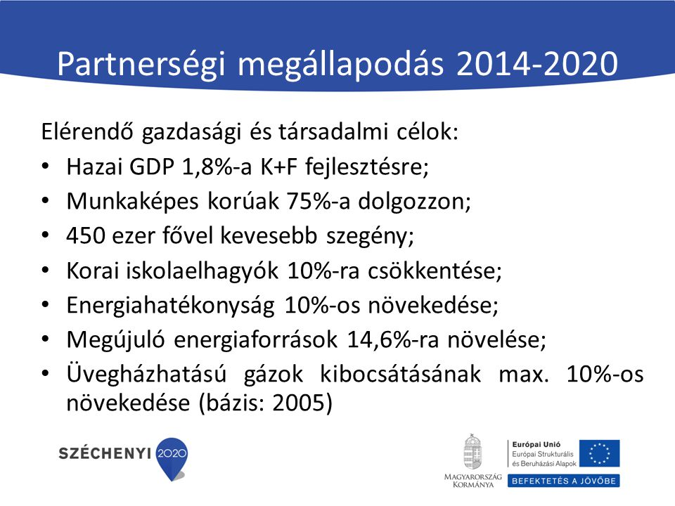 Partnerségi megállapodás 2014-2020 Elérendő gazdasági és társadalmi célok: Hazai GDP 1,8%-a K+F fejlesztésre; Munkaképes korúak 75%-a dolgozzon; 450 ezer fővel kevesebb szegény; Korai iskolaelhagyók 10%-ra csökkentése; Energiahatékonyság 10%-os növekedése; Megújuló energiaforrások 14,6%-ra növelése; Üvegházhatású gázok kibocsátásának max.