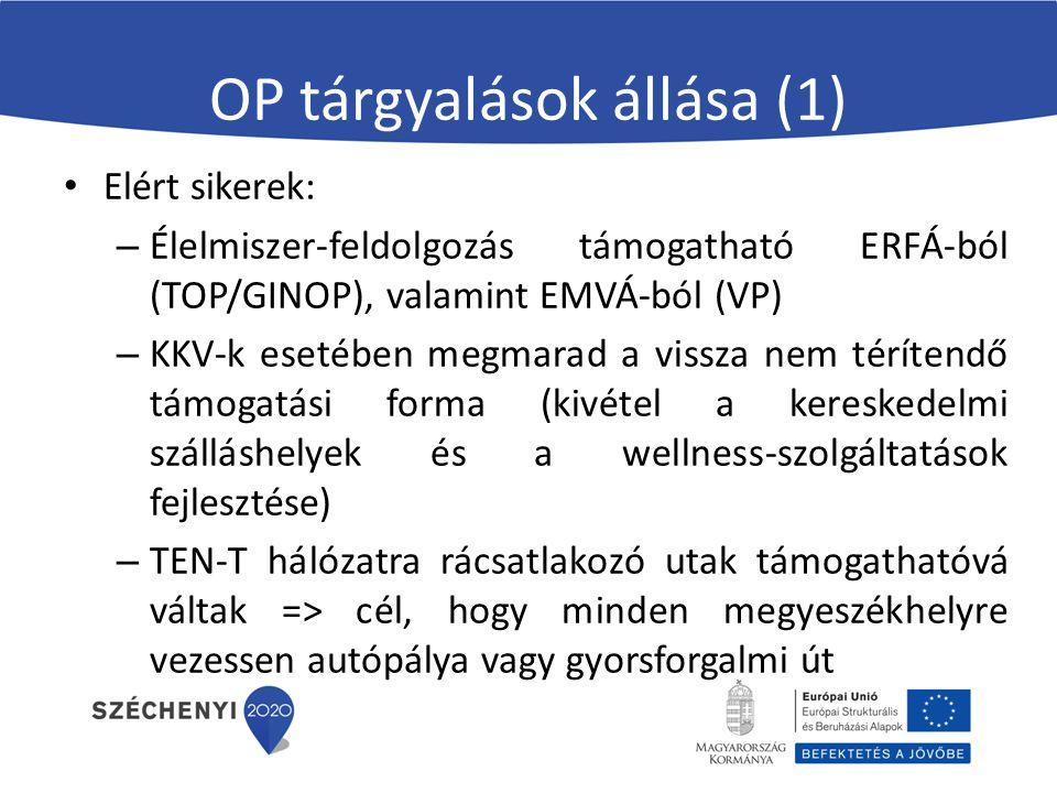 OP tárgyalások állása (2) TOP tartalmi változásai: – Nem lesz közvetlen KKV támogatásra lehetőség – Turizmus támogatható marad, de átkerül az 1.