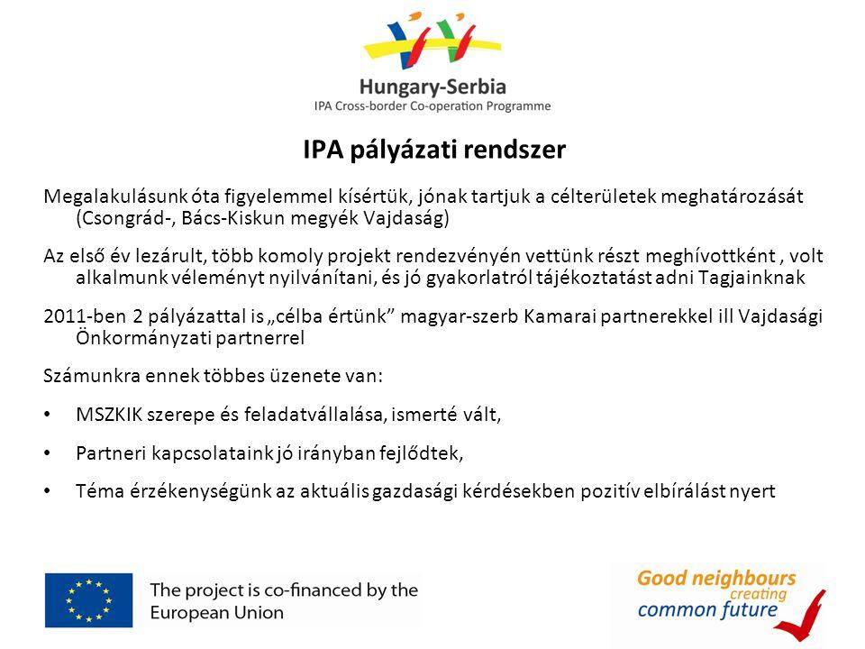 """IPA pályázati rendszer Megalakulásunk óta figyelemmel kísértük, jónak tartjuk a célterületek meghatározását (Csongrád-, Bács-Kiskun megyék Vajdaság) Az első év lezárult, több komoly projekt rendezvényén vettünk részt meghívottként, volt alkalmunk véleményt nyilvánítani, és jó gyakorlatról tájékoztatást adni Tagjainknak 2011-ben 2 pályázattal is """"célba értünk magyar-szerb Kamarai partnerekkel ill Vajdasági Önkormányzati partnerrel Számunkra ennek többes üzenete van: MSZKIK szerepe és feladatvállalása, ismerté vált, Partneri kapcsolataink jó irányban fejlődtek, Téma érzékenységünk az aktuális gazdasági kérdésekben pozitív elbírálást nyert"""