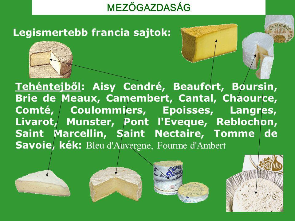MEZŐGAZDASÁG Legismertebb francia sajtok: Tehéntejből: Aisy Cendré, Beaufort, Boursin, Brie de Meaux, Camembert, Cantal, Chaource, Comté, Coulommiers,