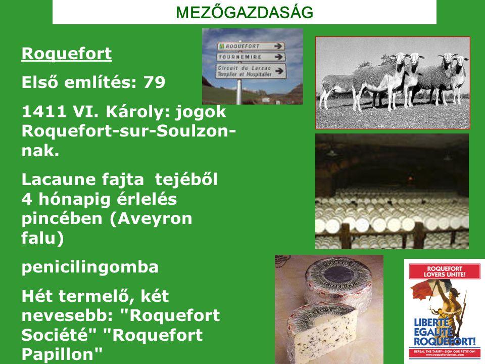 MEZŐGAZDASÁG Roquefort Első említés: 79 1411 VI. Károly: jogok Roquefort-sur-Soulzon- nak. Lacaune fajta tejéből 4 hónapig érlelés pincében (Aveyron f