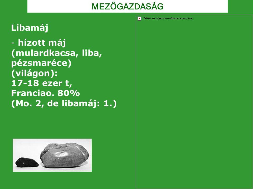 MEZŐGAZDASÁG Libamáj - hízott máj (mulardkacsa, liba, pézsmaréce) (világon): 17-18 ezer t, Franciao. 80% (Mo. 2, de libamáj: 1.)