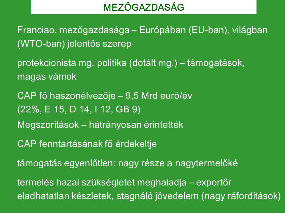 MEZŐGAZDASÁG Franciao. mezőgazdasága – Európában (EU-ban), világban (WTO-ban) jelentős szerep protekcionista mg. politika (dotált mg.) – támogatások,