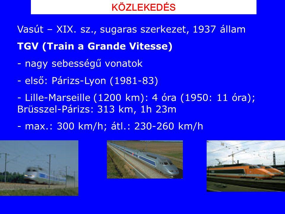 Vasút – XIX. sz., sugaras szerkezet, 1937 állam TGV (Train a Grande Vitesse) - nagy sebességű vonatok - első: Párizs-Lyon (1981-83) - Lille-Marseille