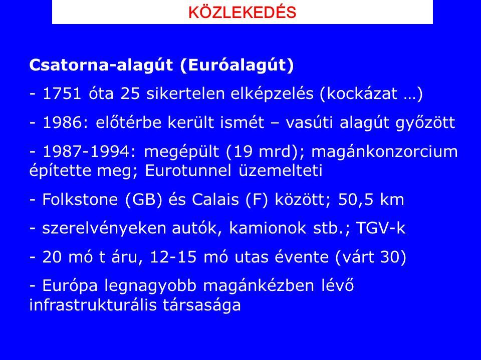Csatorna-alagút (Euróalagút) - 1751 óta 25 sikertelen elképzelés (kockázat …) - 1986: előtérbe került ismét – vasúti alagút győzött - 1987-1994: megép