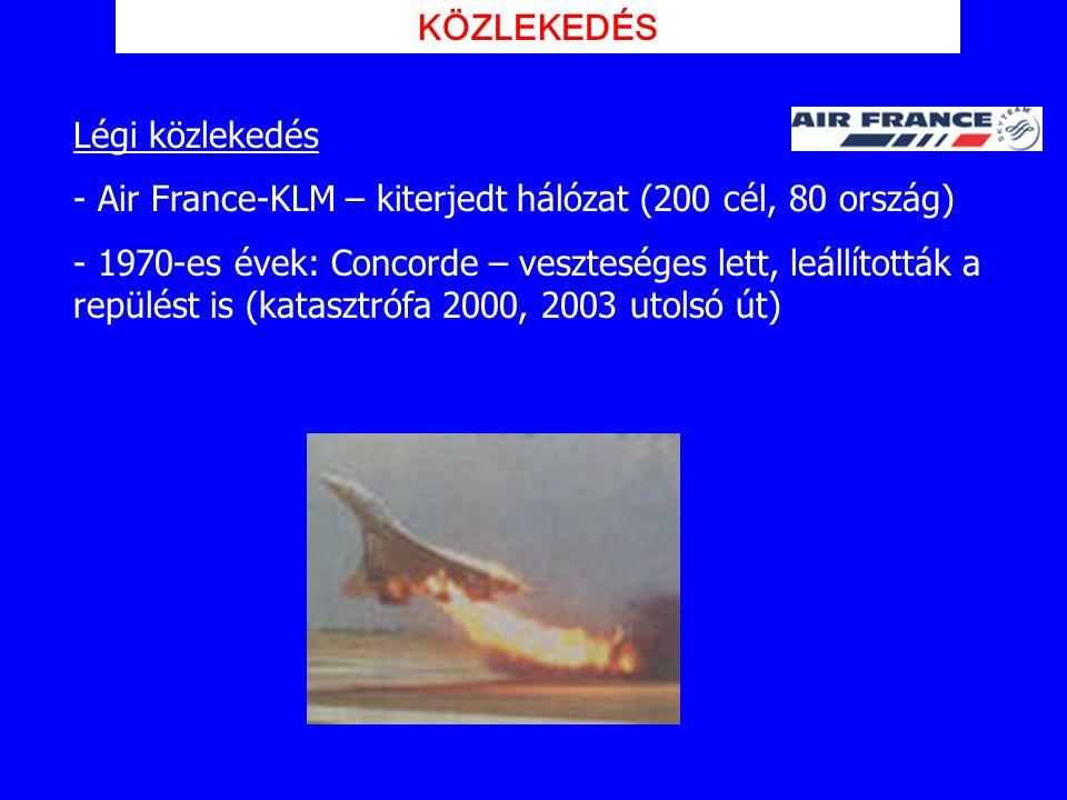 Légi közlekedés - Air France-KLM – kiterjedt hálózat (200 cél, 80 ország) - 1970-es évek: Concorde – veszteséges lett, leállították a repülést is (kat