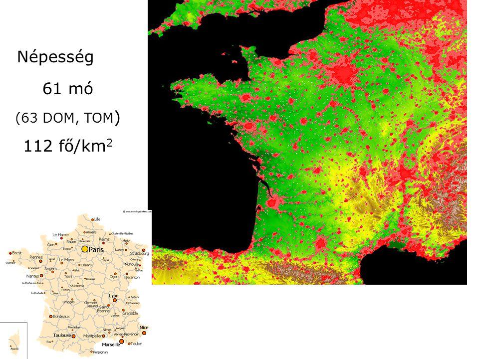 Népesség 61 mó (63 DOM, TOM ) 112 fő/km 2