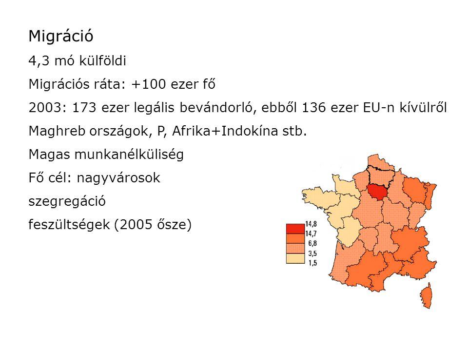 Migráció 4,3 mó külföldi Migrációs ráta: +100 ezer fő 2003: 173 ezer legális bevándorló, ebből 136 ezer EU-n kívülről Maghreb országok, P, Afrika+Indo