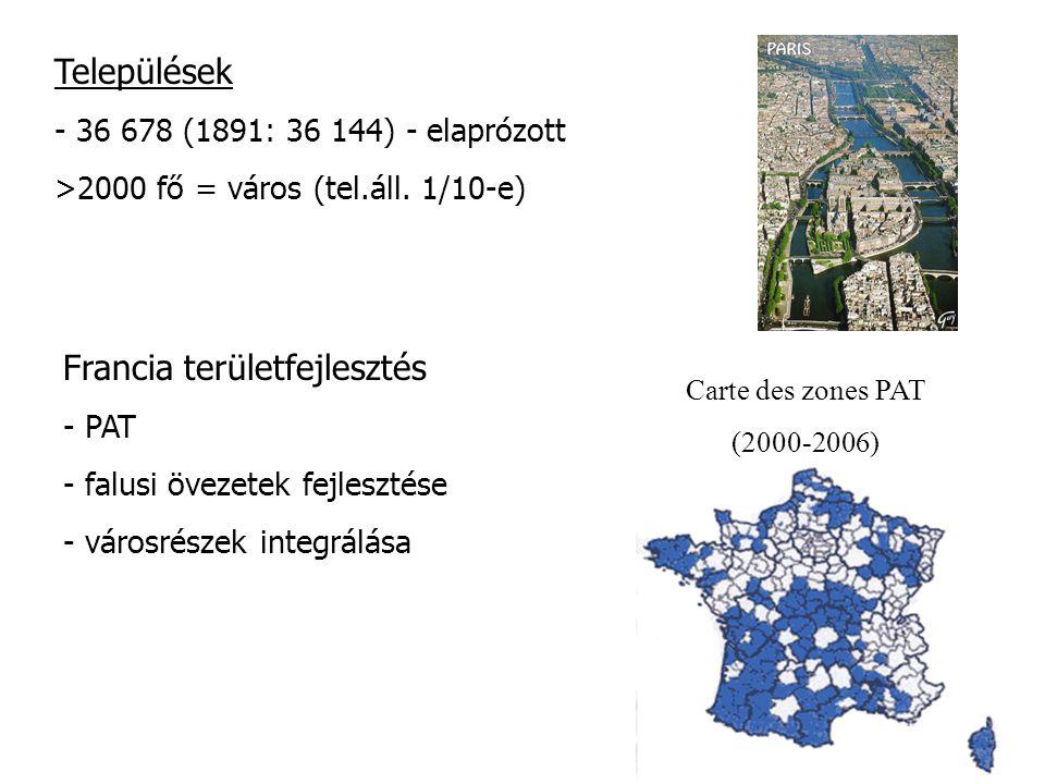 Települések - 36 678 (1891: 36 144) - elaprózott >2000 fő = város (tel.áll. 1/10-e) Carte des zones PAT (2000-2006) Francia területfejlesztés - PAT -