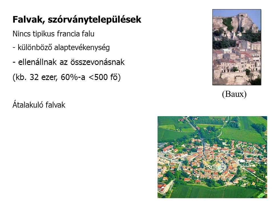 Falvak, szórványtelepülések Nincs tipikus francia falu - különböző alaptevékenység - ellenállnak az összevonásnak (kb. 32 ezer, 60%-a <500 fő) Átalaku