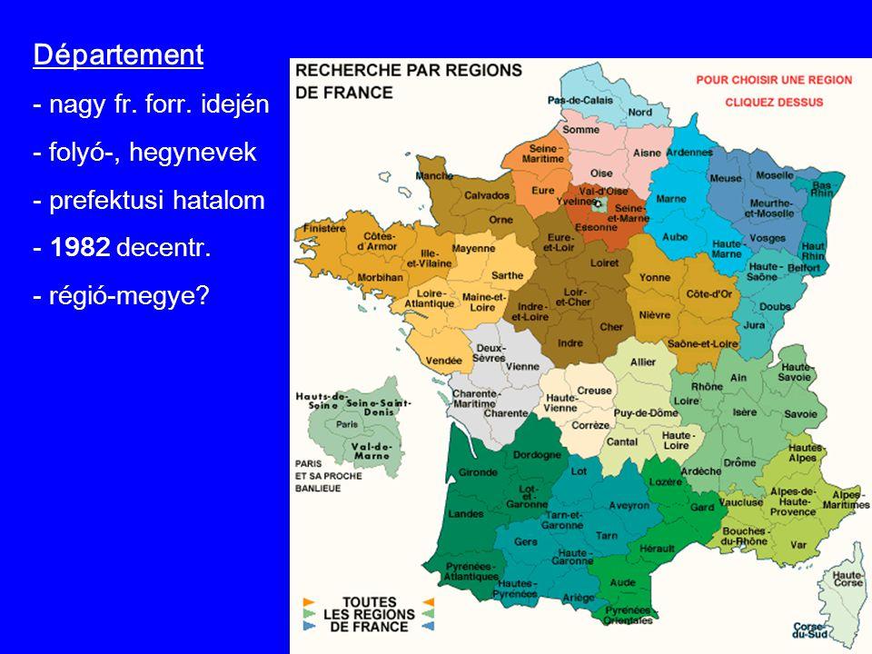 Département - nagy fr. forr. idején - folyó-, hegynevek - prefektusi hatalom - 1982 decentr. - régió-megye?