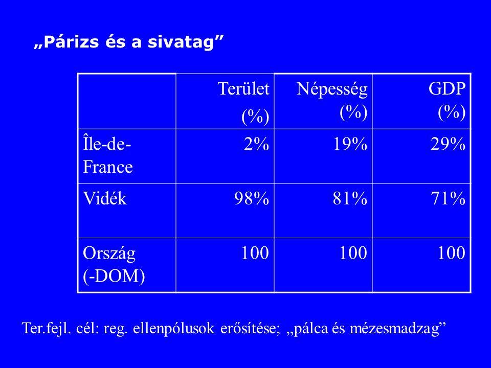 """""""Párizs és a sivatag"""" Terület (%) Népesség (%) GDP (%) Île-de- France 2%19%29% Vidék98%81%71% Ország (-DOM) 100 Ter.fejl. cél: reg. ellenpólusok erősí"""