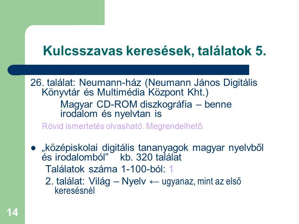 14 Kulcsszavas keresések, találatok 5. 26. találat: Neumann-ház (Neumann János Digitális Könyvtár és Multimédia Központ Kht.) Magyar CD-ROM diszkográf
