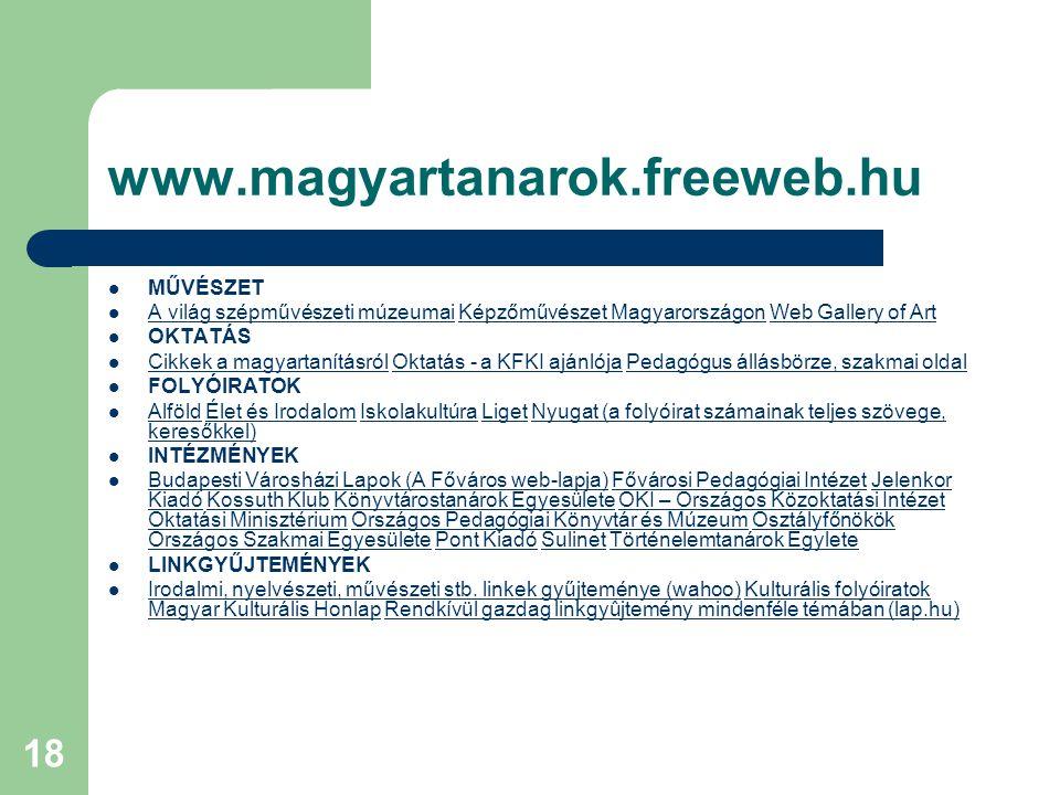 18 www.magyartanarok.freeweb.hu MŰVÉSZET A világ szépművészeti múzeumai Képzőművészet Magyarországon Web Gallery of Art A világ szépművészeti múzeumai