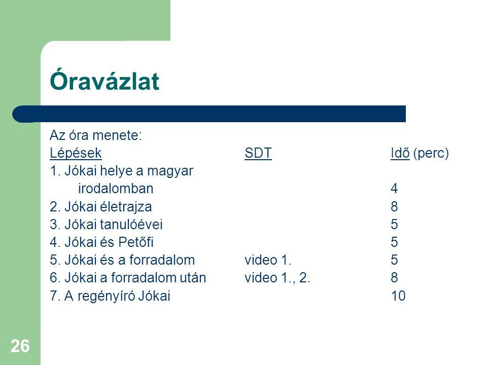 26 Óravázlat Az óra menete: LépésekSDTIdő (perc) 1. Jókai helye a magyar irodalomban4 2. Jókai életrajza8 3. Jókai tanulóévei5 4. Jókai és Petőfi5 5.