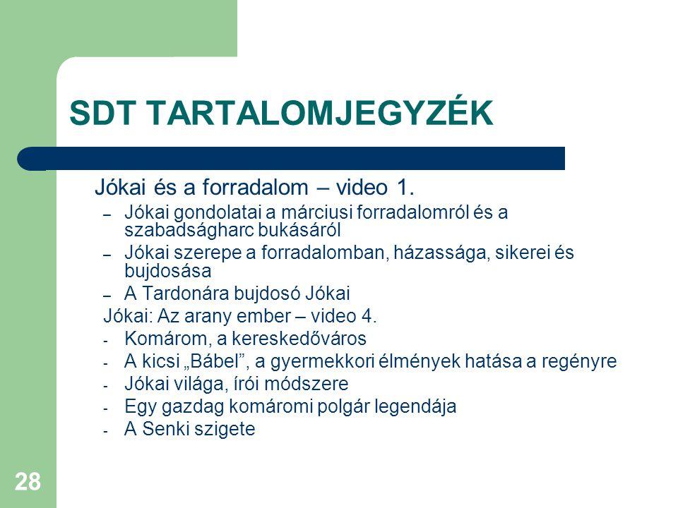 28 SDT TARTALOMJEGYZÉK Jókai és a forradalom – video 1.