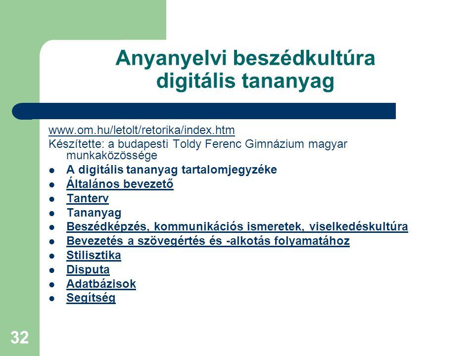 32 Anyanyelvi beszédkultúra digitális tananyag www.om.hu/letolt/retorika/index.htm Készítette: a budapesti Toldy Ferenc Gimnázium magyar munkaközösség