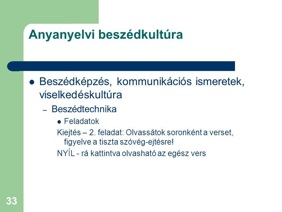 33 Anyanyelvi beszédkultúra Beszédképzés, kommunikációs ismeretek, viselkedéskultúra – Beszédtechnika Feladatok Kiejtés – 2. feladat: Olvassátok soron
