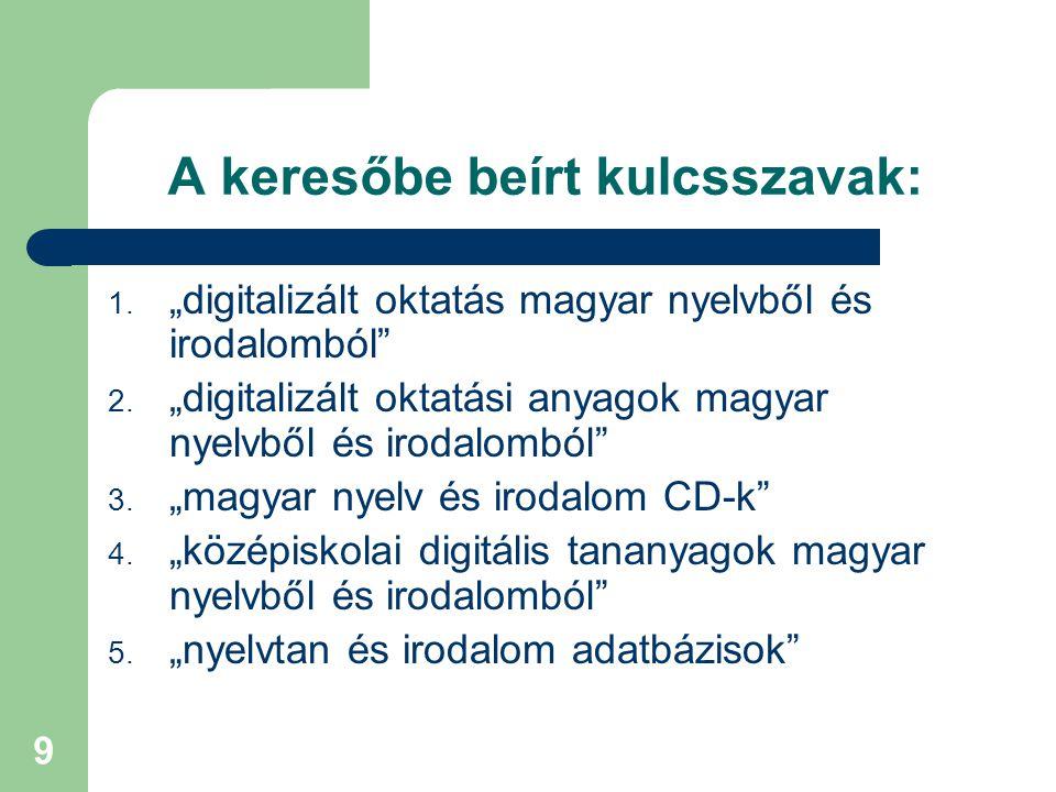 """9 A keresőbe beírt kulcsszavak: 1. """"digitalizált oktatás magyar nyelvből és irodalomból"""" 2. """"digitalizált oktatási anyagok magyar nyelvből és irodalom"""
