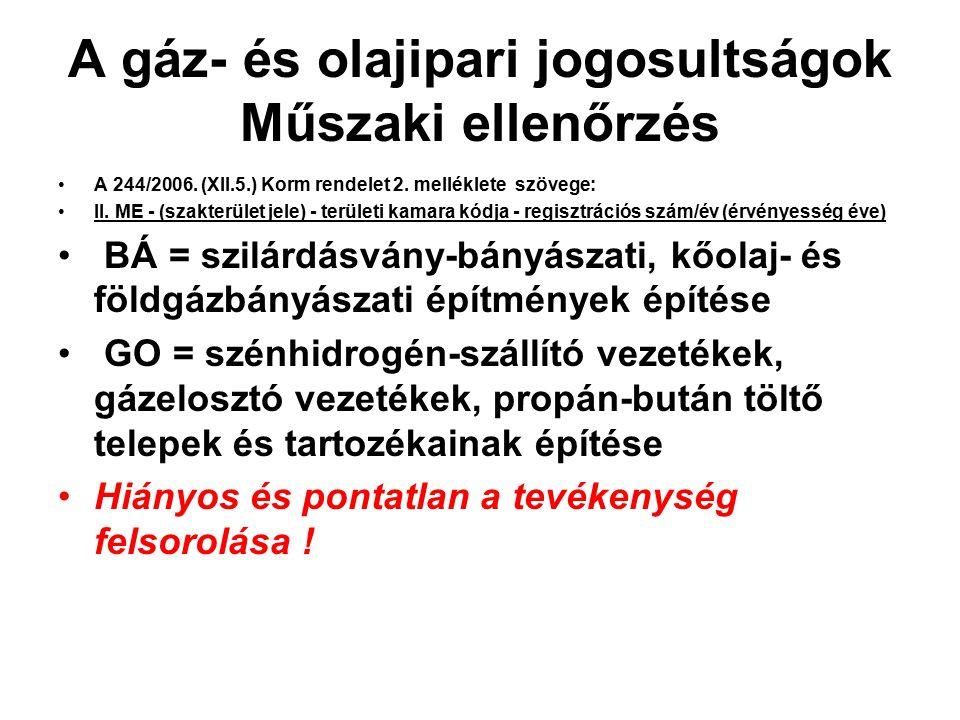 A gáz- és olajipari jogosultságok Műszaki ellenőrzés A 244/2006. (XII.5.) Korm rendelet 2. melléklete szövege: II. ME - (szakterület jele) - területi