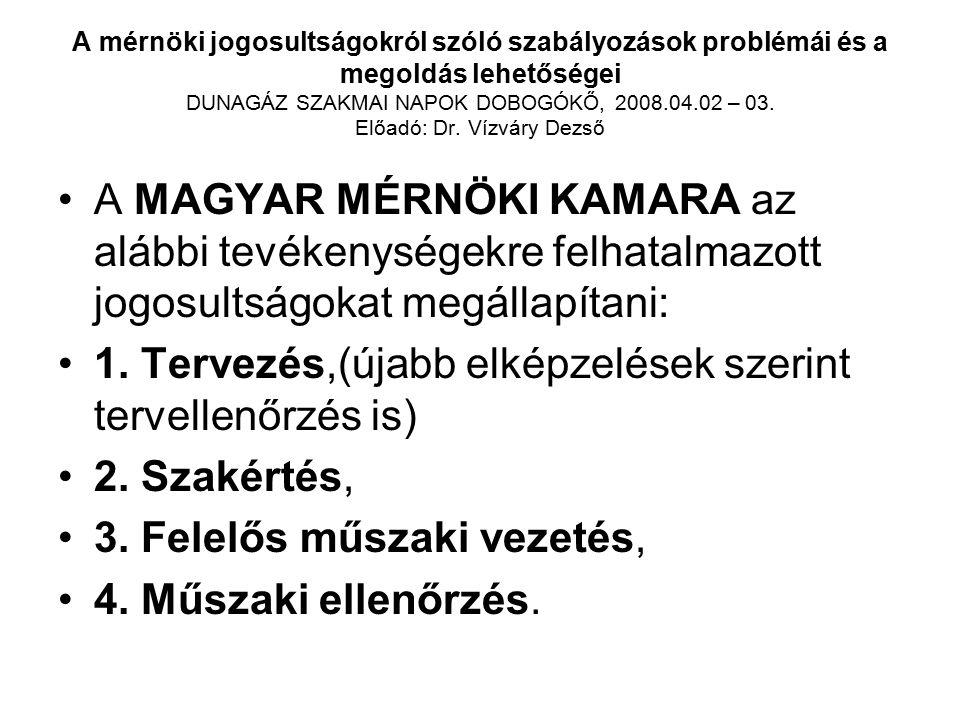 A mérnöki jogosultságokról szóló szabályozások problémái és a megoldás lehetőségei DUNAGÁZ SZAKMAI NAPOK DOBOGÓKŐ, 2008.04.02 – 03. Előadó: Dr. Vízvár