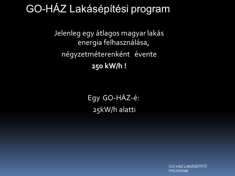 Jelenleg egy átlagos magyar lakás energia felhasználása, négyzetméterenként évente 250 kW/h .
