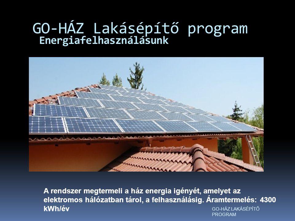 Energiafelhasználásunk GO-HÁZ Lakásépítő program GO-HÁZ LAKÁSÉPÍTŐ PROGRAM A rendszer megtermeli a ház energia igényét, amelyet az elektromos hálózatban tárol, a felhasználásig.