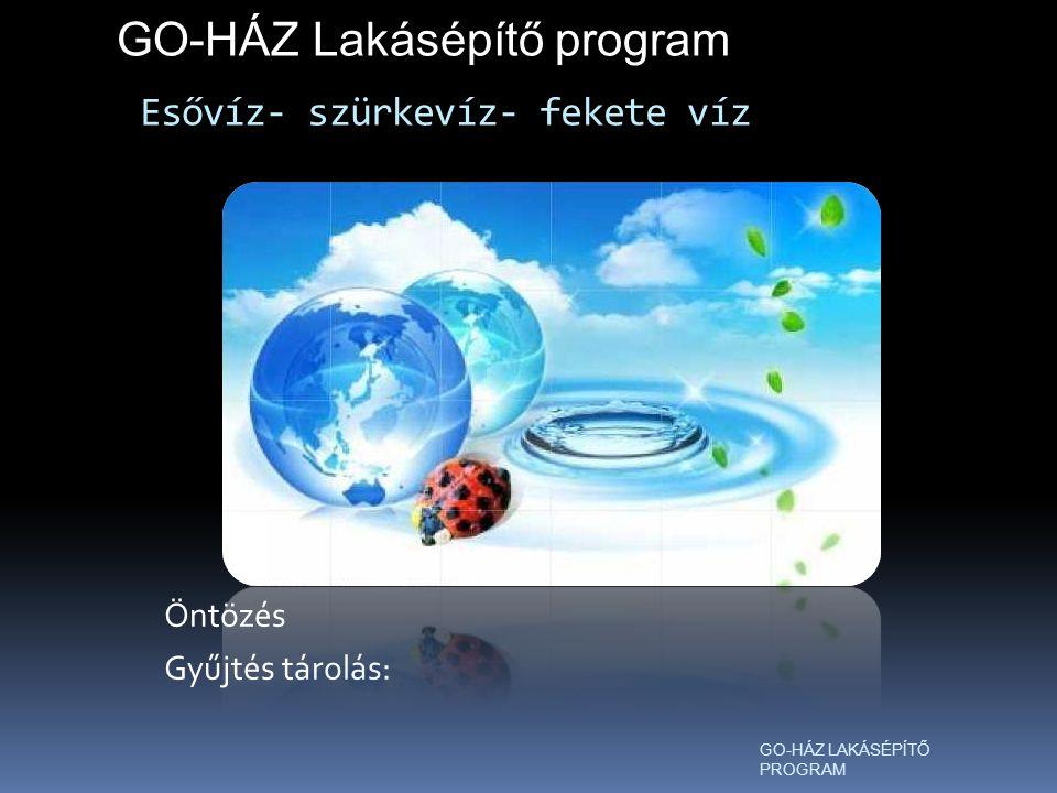 Esővíz- szürkevíz- fekete víz Öntözés Gyűjtés tárolás: GO-HÁZ Lakásépítő program GO-HÁZ LAKÁSÉPÍTŐ PROGRAM