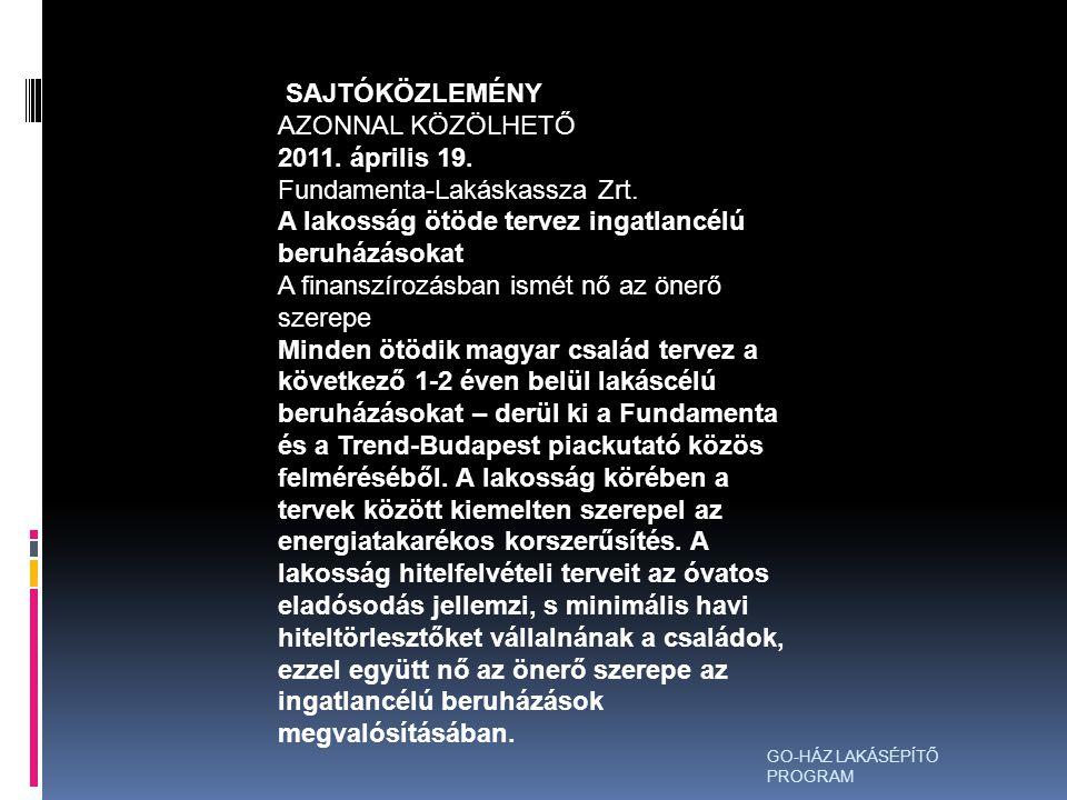 SAJTÓKÖZLEMÉNY AZONNAL KÖZÖLHETŐ 2011.április 19.