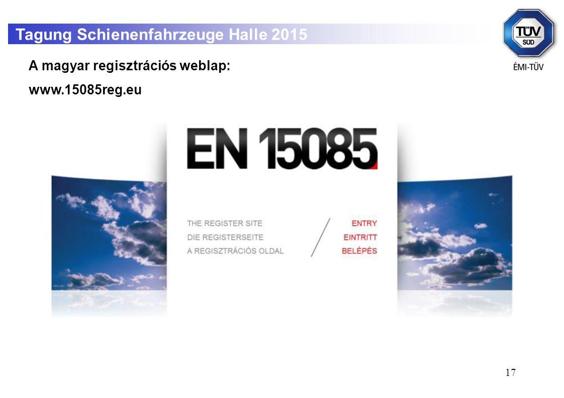 17 Tagung Schienenfahrzeuge Halle 2015 A magyar regisztrációs weblap: www.15085reg.eu