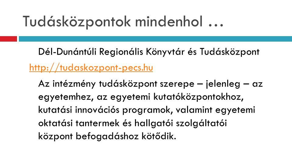 Tudásközpontok mindenhol … Dél-Dunántúli Regionális Könyvtár és Tudásközpont http://tudaskozpont-pecs.hu Az intézmény tudásközpont szerepe – jelenleg – az egyetemhez, az egyetemi kutatóközpontokhoz, kutatási innovációs programok, valamint egyetemi oktatási tantermek és hallgatói szolgáltatói központ befogadáshoz kötődik.