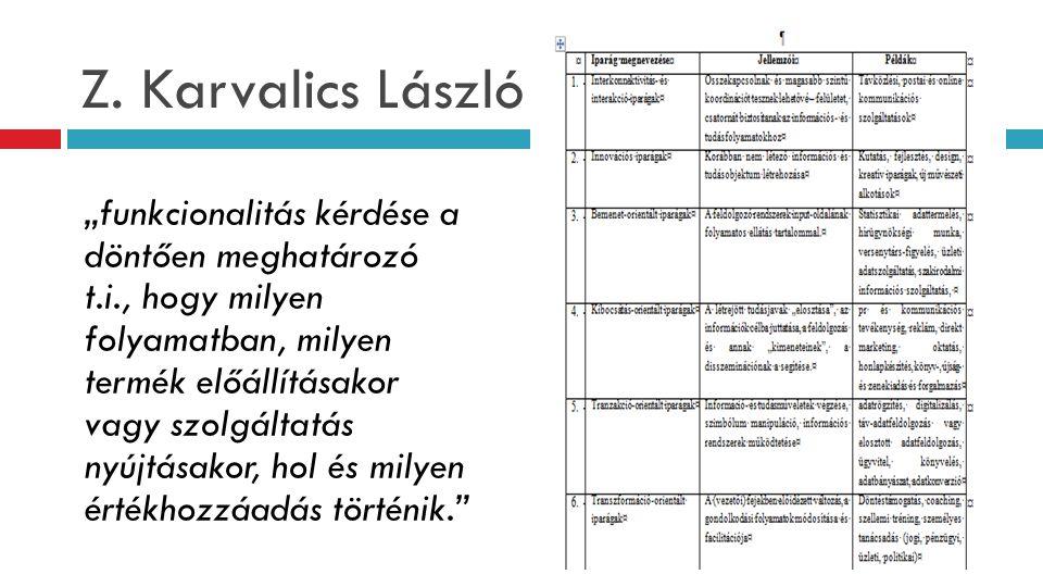"""Z. Karvalics László """"funkcionalitás kérdése a döntően meghatározó t.i., hogy milyen folyamatban, milyen termék előállításakor vagy szolgáltatás nyújtá"""