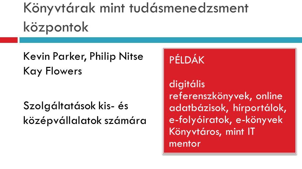 Könyvtárak mint tudásmenedzsment központok PÉLDÁK digitális referenszkönyvek, online adatbázisok, hírportálok, e-folyóiratok, e-könyvek Könyvtáros, mint IT mentor PÉLDÁK digitális referenszkönyvek, online adatbázisok, hírportálok, e-folyóiratok, e-könyvek Könyvtáros, mint IT mentor Kevin Parker, Philip Nitse Kay Flowers Szolgáltatások kis- és középvállalatok számára