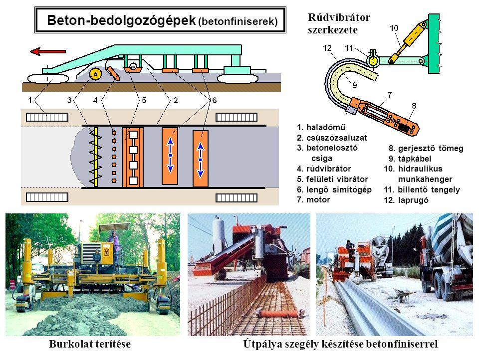 1. haladómű 2. csúszózsaluzat 3. betonelosztó csiga 4. rúdvibrátor 5. felületi vibrátor 6. lengő simítógép 7. motor 8. gerjesztő tömeg 9. tápkábel 10.