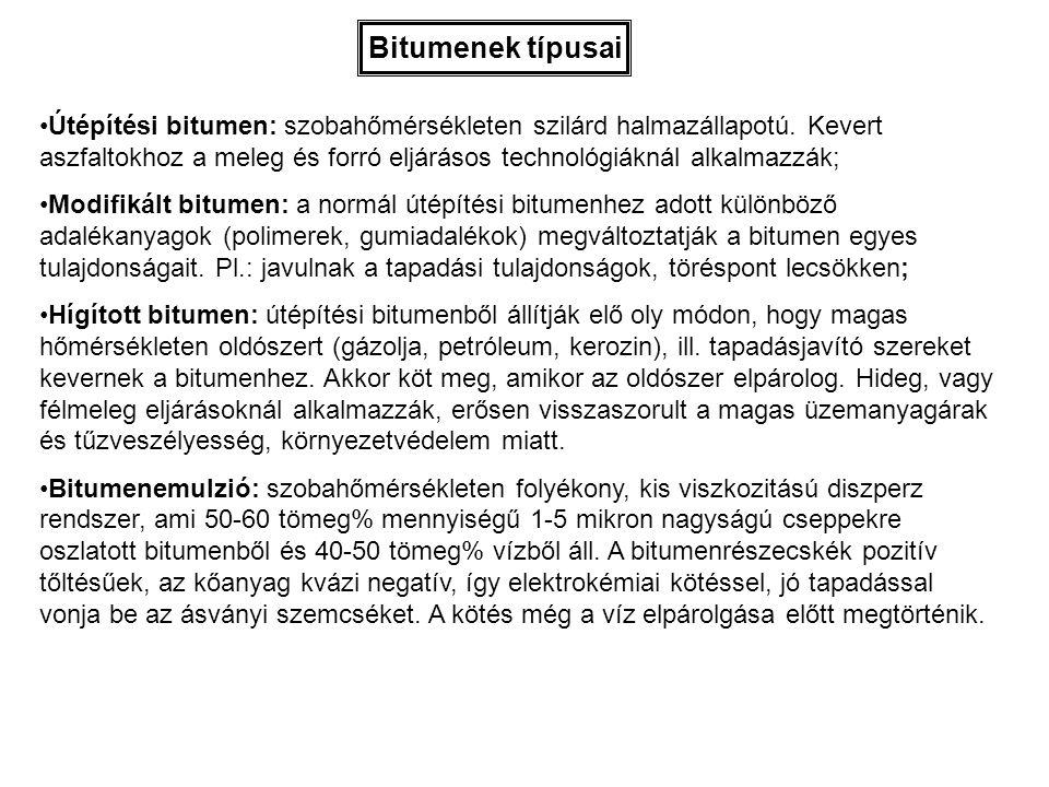 Bitumenek típusai Útépítési bitumen: szobahőmérsékleten szilárd halmazállapotú. Kevert aszfaltokhoz a meleg és forró eljárásos technológiáknál alkalma