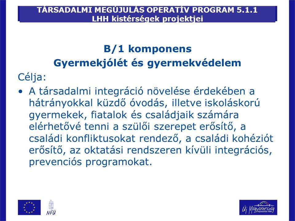 TÁRSADALMI MEGÚJULÁS OPERATÍV PROGRAM 5.1.1 LHH kistérségek projektjei B/1 komponens Gyermekjólét és gyermekvédelem Célja: A társadalmi integráció növ