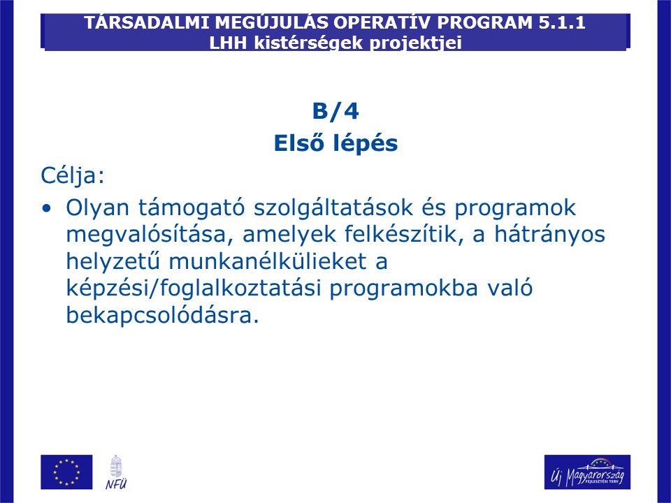 TÁRSADALMI MEGÚJULÁS OPERATÍV PROGRAM 5.1.1 LHH kistérségek projektjei B/4 Első lépés Célja: Olyan támogató szolgáltatások és programok megvalósítása,