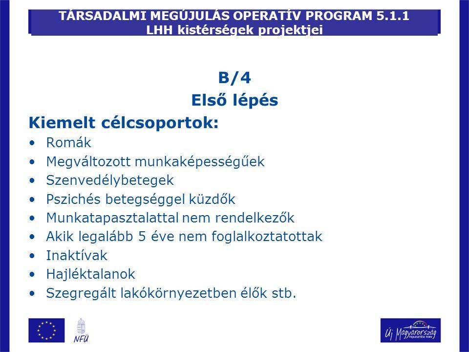 TÁRSADALMI MEGÚJULÁS OPERATÍV PROGRAM 5.1.1 LHH kistérségek projektjei B/4 Első lépés Kiemelt célcsoportok: Romák Megváltozott munkaképességűek Szenve