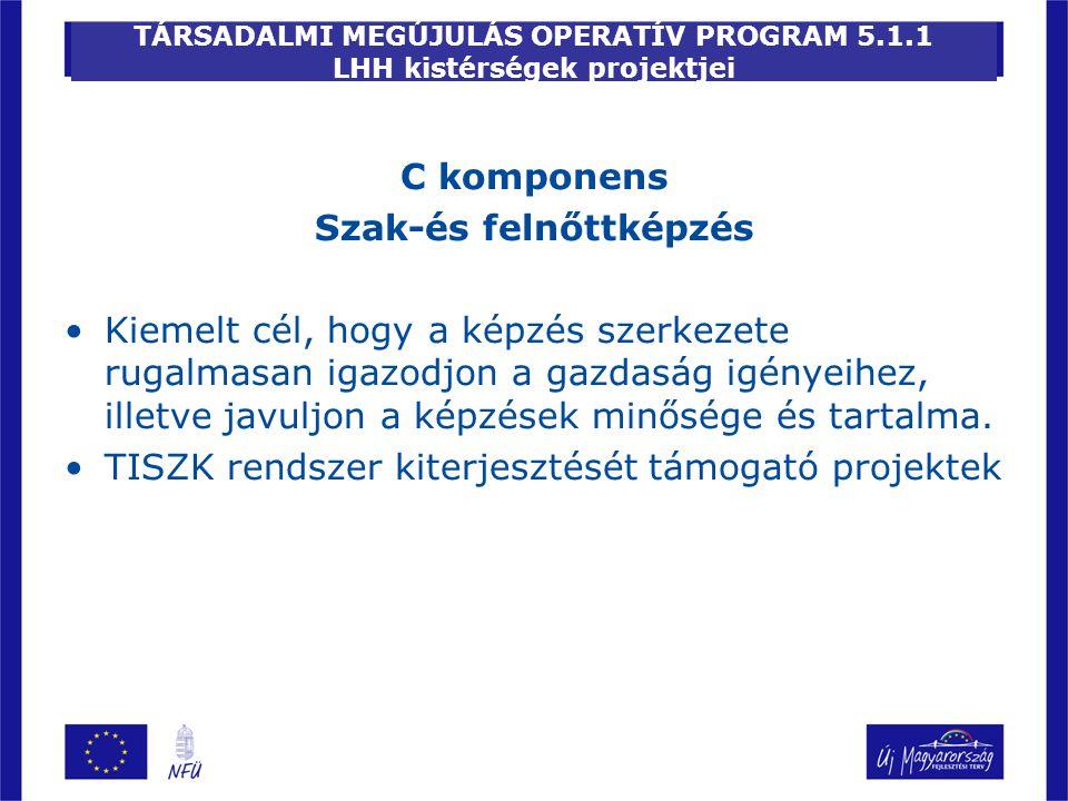 TÁRSADALMI MEGÚJULÁS OPERATÍV PROGRAM 5.1.1 LHH kistérségek projektjei C komponens Szak-és felnőttképzés Kiemelt cél, hogy a képzés szerkezete rugalma