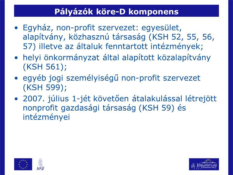 Pályázók köre-D komponens Egyház, non-profit szervezet: egyesület, alapítvány, közhasznú társaság (KSH 52, 55, 56, 57) illetve az általuk fenntartott intézmények; helyi önkormányzat által alapított közalapítvány (KSH 561); egyéb jogi személyiségű non-profit szervezet (KSH 599); 2007.