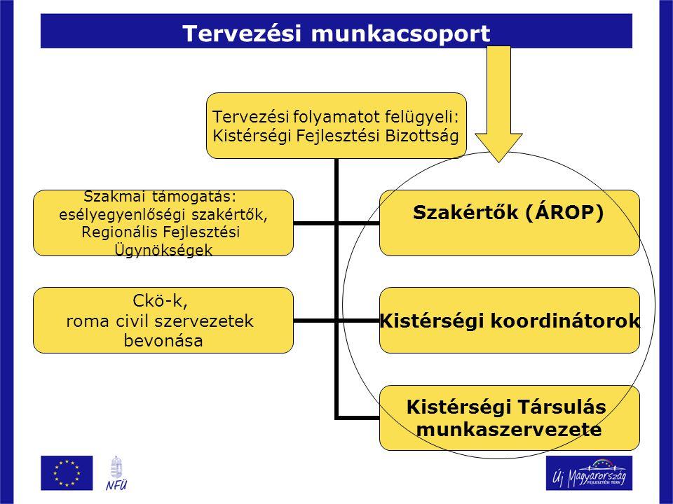 Tervezési munkacsoport Tervezési folyamatot felügyeli: Kistérségi Fejlesztési Bizottság Kistérségi Társulás munkaszervezete Szakmai támogatás: esélyegyenlőségi szakértők, Regionális Fejlesztési Ügynökségek Szakértők (ÁROP) Ckö-k, roma civil szervezetek bevonása Kistérségi koordinátorok