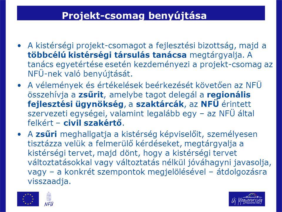 Projekt-csomag benyújtása A kistérségi projekt-csomagot a fejlesztési bizottság, majd a többcélú kistérségi társulás tanácsa megtárgyalja. A tanács eg