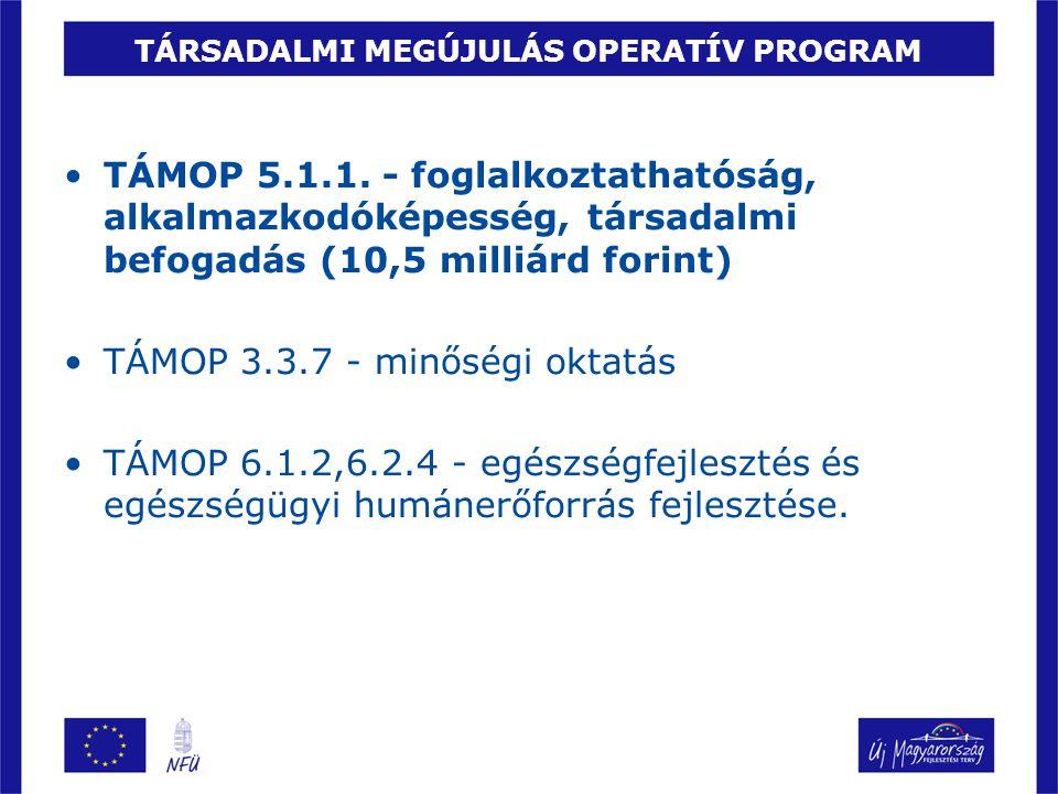 TÁRSADALMI MEGÚJULÁS OPERATÍV PROGRAM TÁMOP 5.1.1. - foglalkoztathatóság, alkalmazkodóképesség, társadalmi befogadás (10,5 milliárd forint) TÁMOP 3.3.