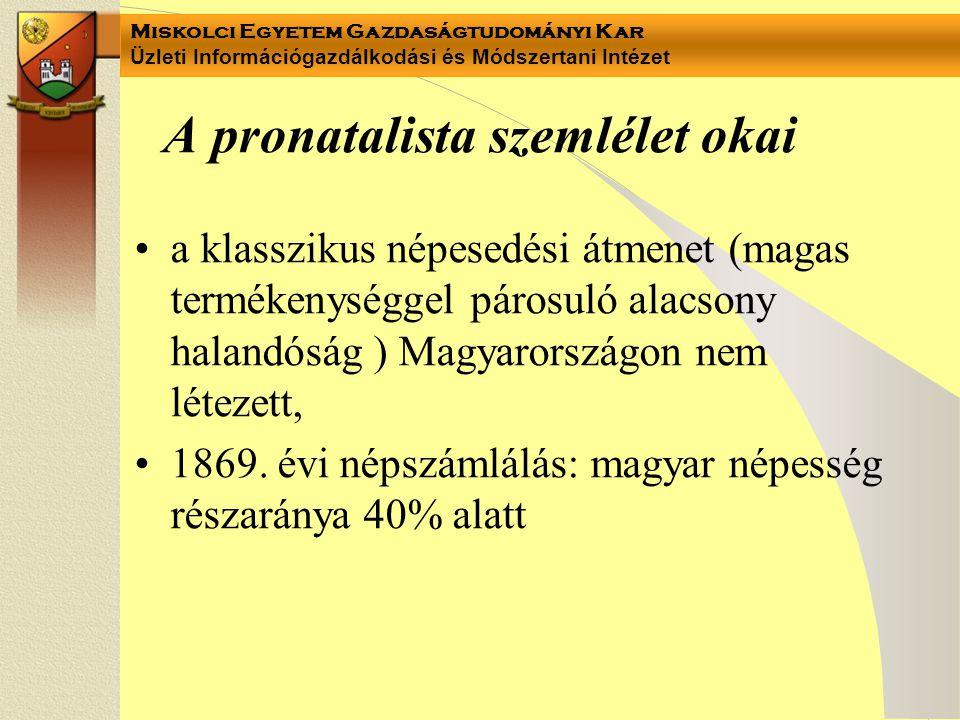 Miskolci Egyetem Gazdaságtudományi Kar Üzleti Információgazdálkodási és Módszertani Intézet A pronatalista szemlélet okai a klasszikus népesedési átmenet (magas termékenységgel párosuló alacsony halandóság ) Magyarországon nem létezett, 1869.